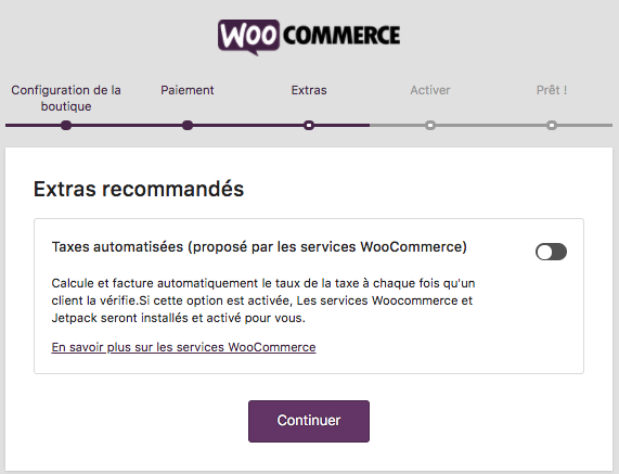 Formulaire installation WooCommerce