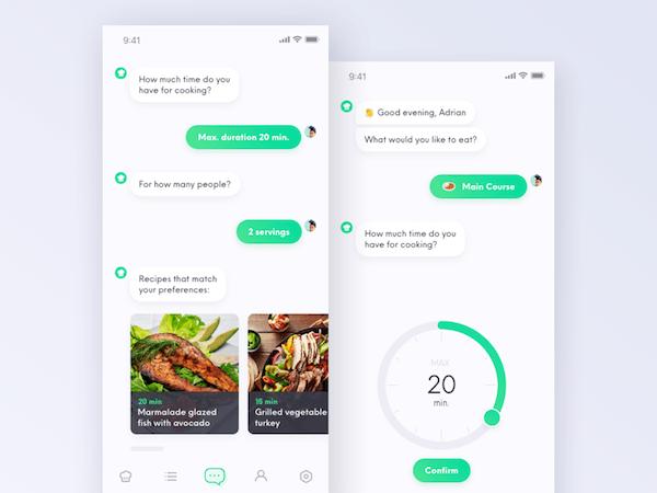Recette chatbot app mobile