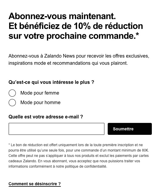 Réduction newsletter