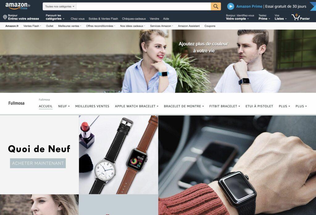 La page d'un vendeur Amazon