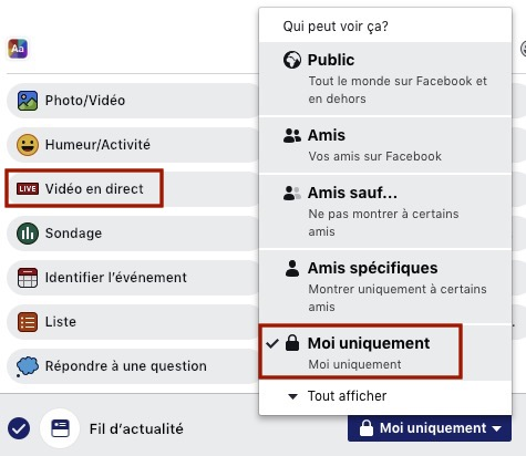 Live facebook Confidentialité