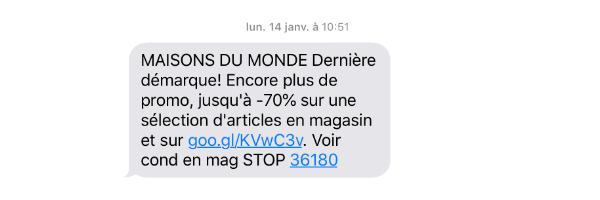SMS réductions