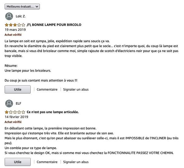 Avis négatifs Amazon