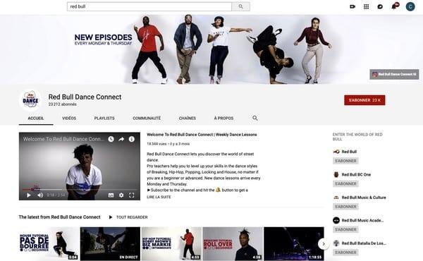 Chaîne Youtube thématique Danse Red Bull