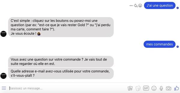 Chatbot facebook messenger Sephora