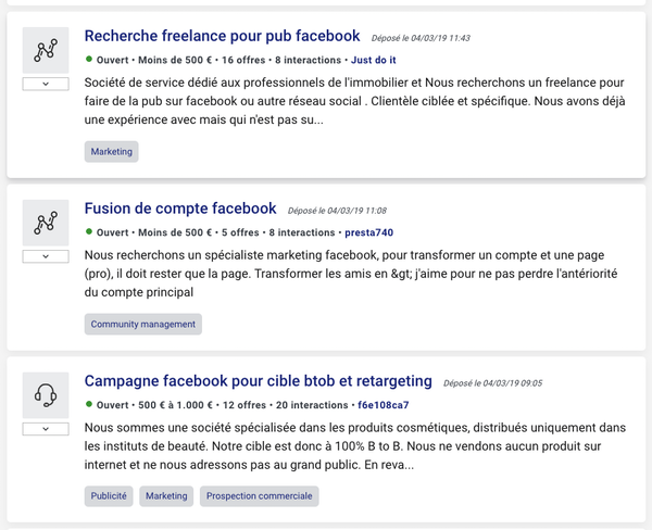 Projets social media Codeur