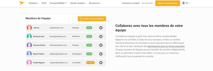 équipe gestion emailing