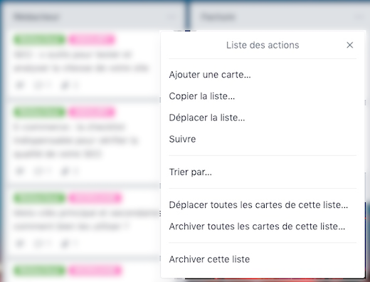 Action groupée Trello