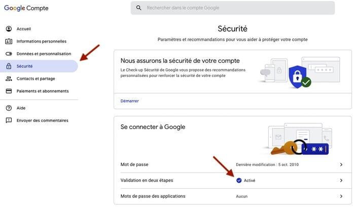 Double sécurité Google Drive