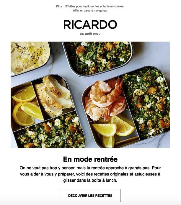 Newsletter Ricardo Cuisine