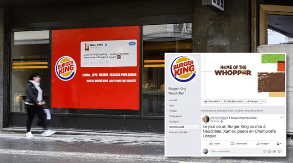 Post Facebook sur Burger King