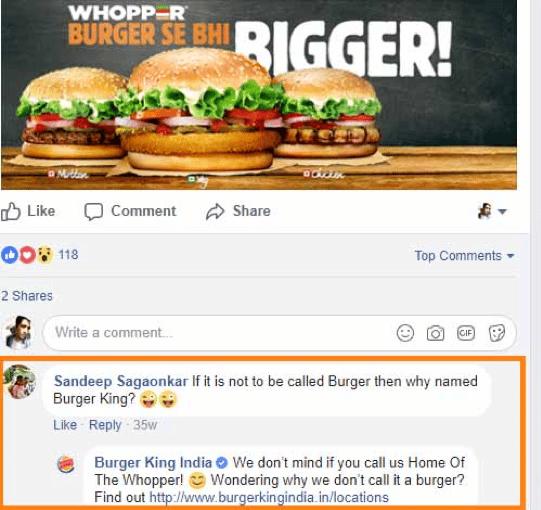 Réponse commentaire burger king