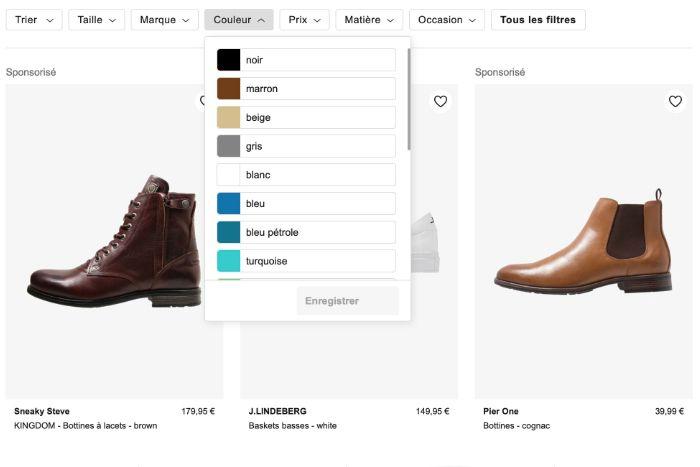 Filtre e-commerce Zalando