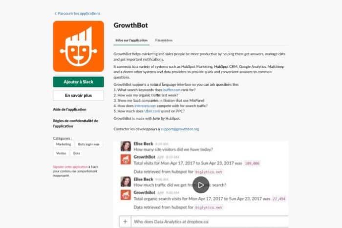 Application GrowthBot pour Slack