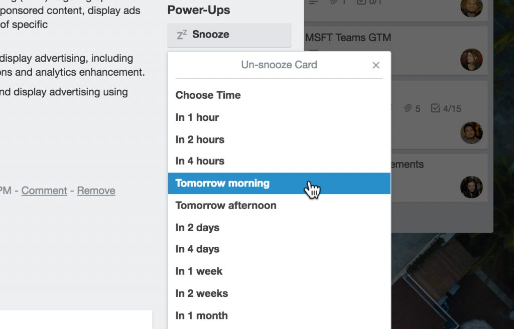 Card snooze power up