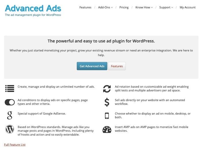 Advanced Ads Plugin gestion pubs WordPress