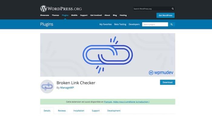 plugin WordPress Broken Link Checker vérification liens