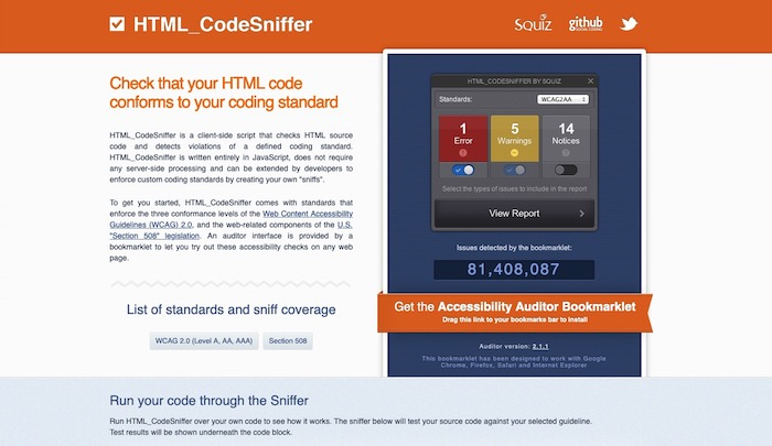 outil test accessibilité HTML CodeSniffer