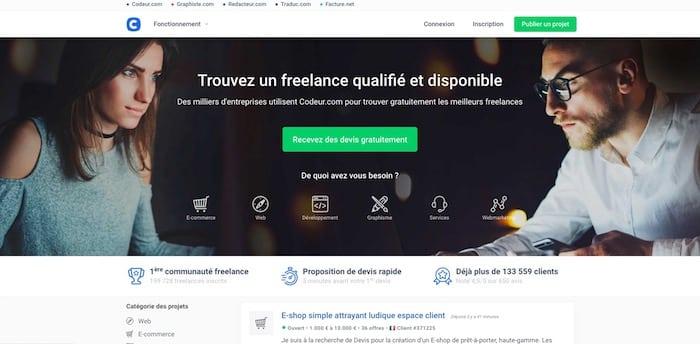 Codeur.com plateforme recrutement freelance développeurs