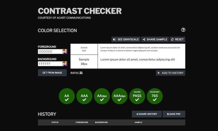 outil test accessibilité Contrast Checker