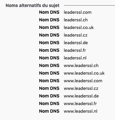 Certificat SSL domaines multiples