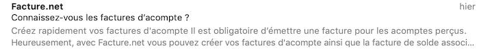 Emailing nom d'expéditeur Facture.net