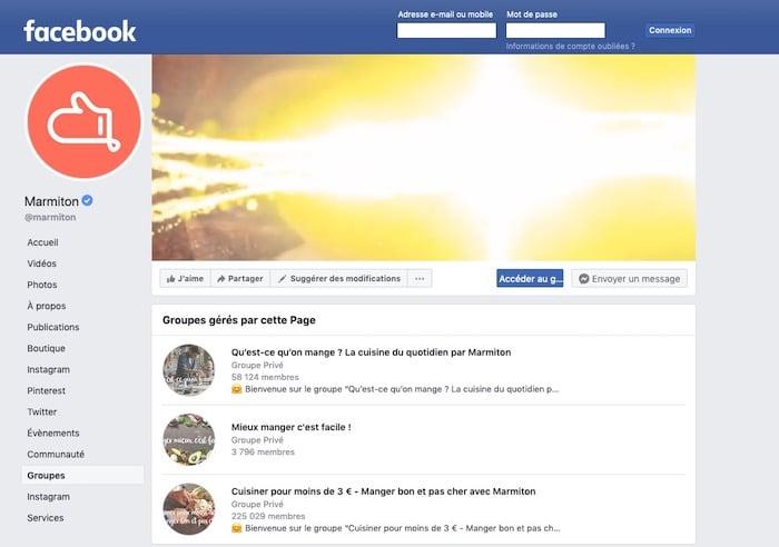 groupes provés Marmiton Facebook