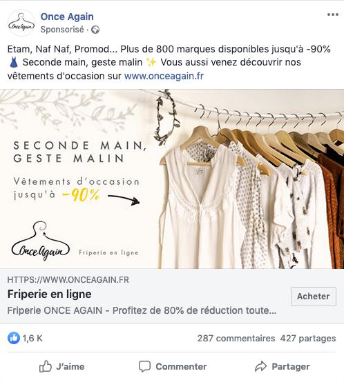 Post sponsorisé Facebook