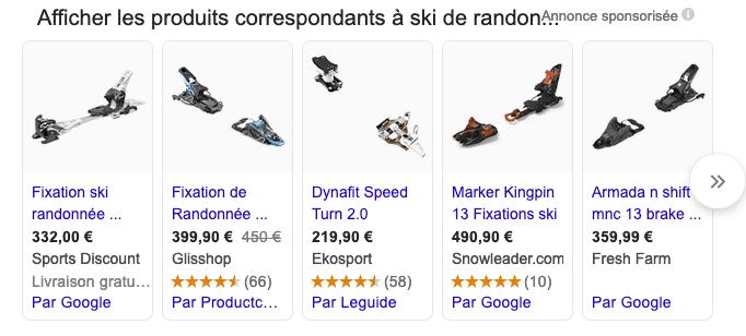 résultats sponsorisés Google Ads e-commerce