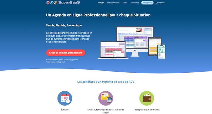 SuperSaas agenda en ligne professionnel
