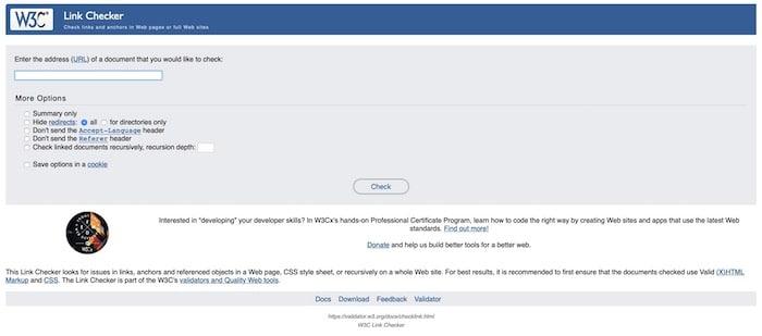 W3C Link Checker vérification liens web