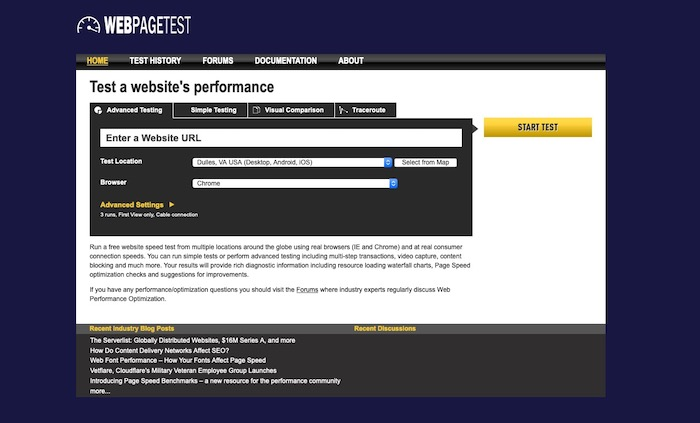 outil test accessibilité WebPageTest