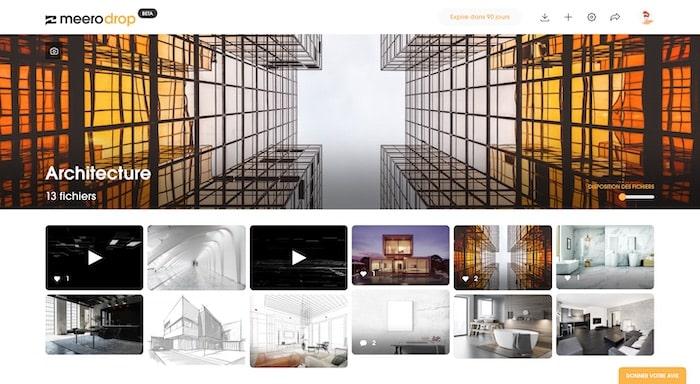 Drop avec couverture partage de fichier design