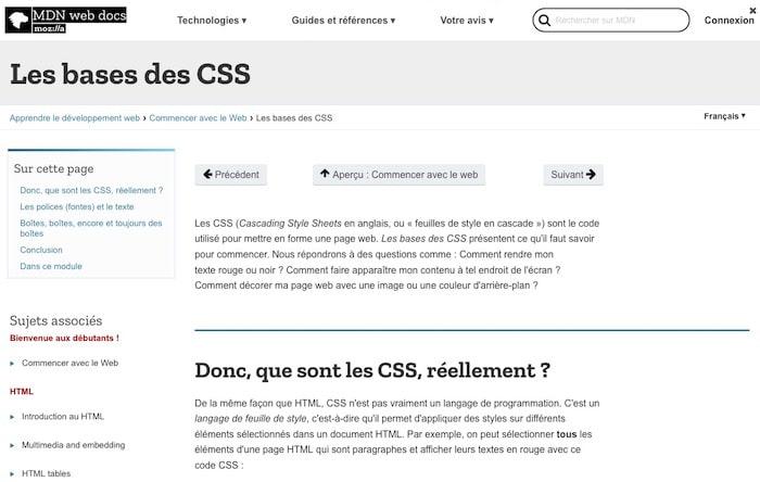 base CSS Mozilla developpeurs