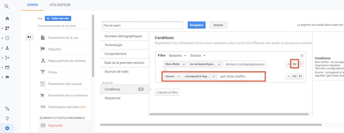 Google Analytics ajout conditions pour supprimer referral spam robots