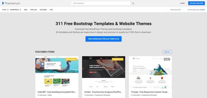 Themehunt, site de templates bootstrap gratuits