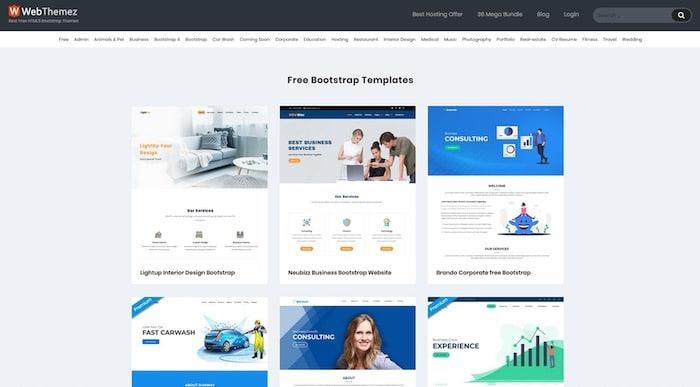WebThemeZ, site de templates bootstrap gratuits