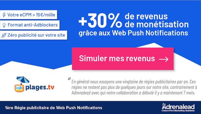 éditeurs web push notifications adrenalead notifadz