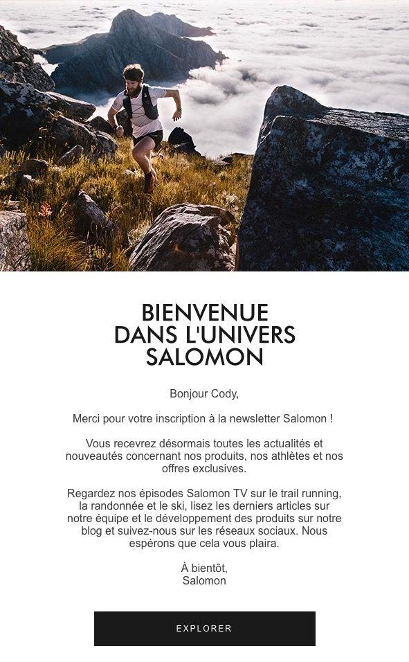 email de bienvenue Salomon
