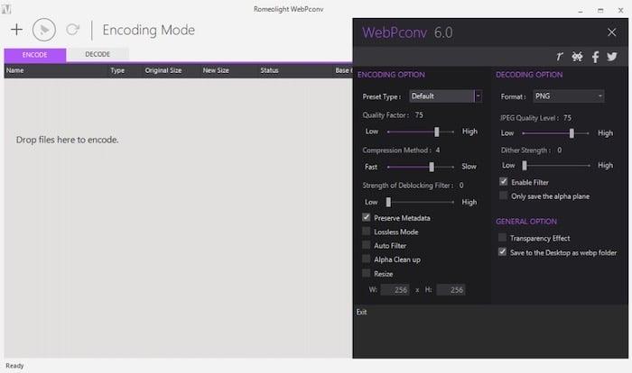 Webpconv outil gratuit conversion images WebP Windows