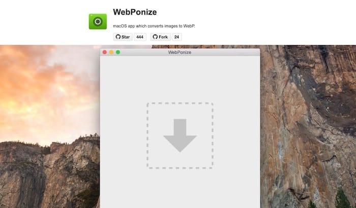 WebPonize outil gratuit conversion images WebP MAC