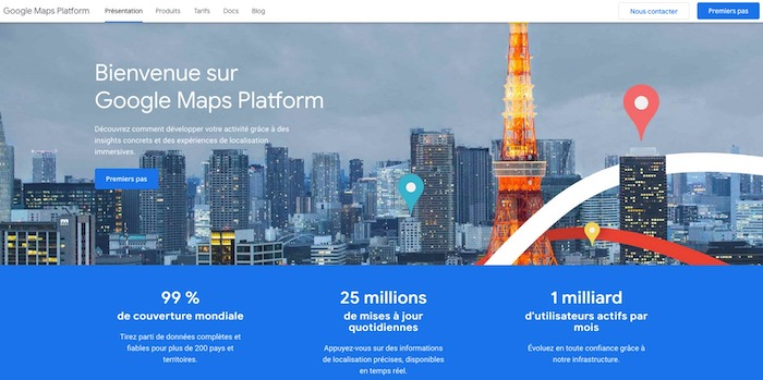 API ouvert Google Maps