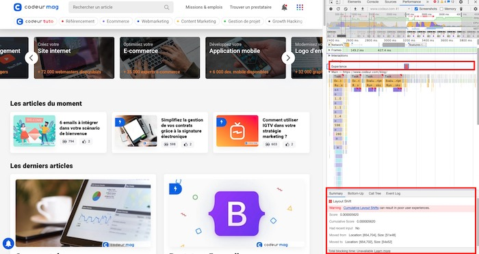 Core Web Vitals ChromeDev Tools