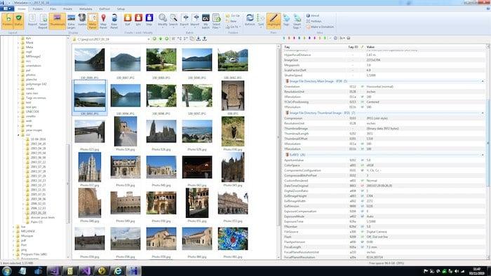 outils d'édition des métadonnées EXIF Metadata