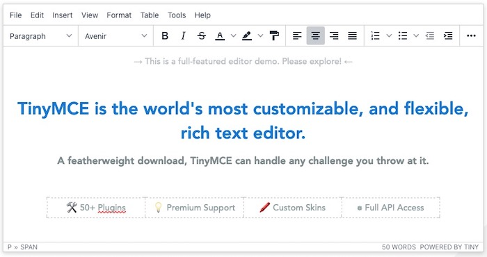 éditeur WYSIWYG TinyMCE