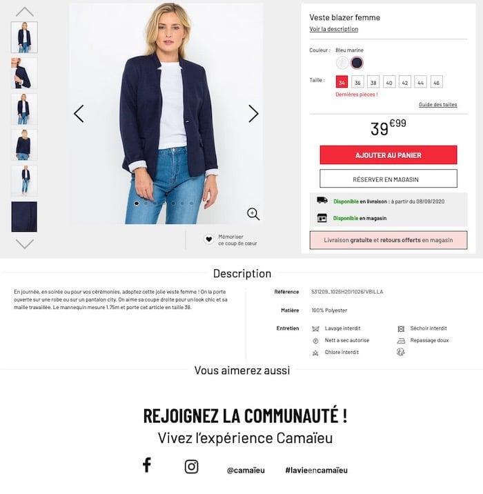 cross-selling raté Camaieu