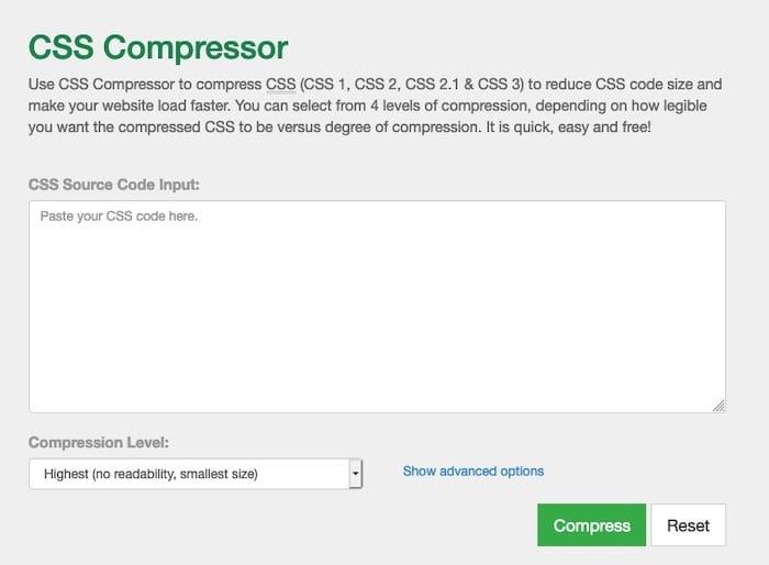 CSS Compressor outils de compression de code CSS