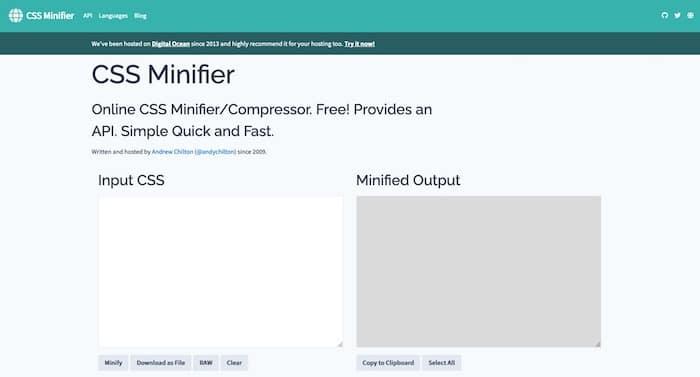 CSS Minifier outils de compression de code CSS
