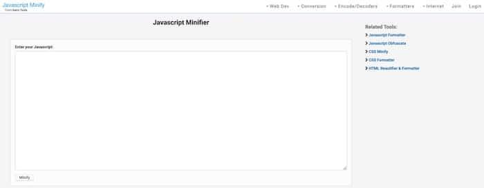 Dan's Tools outils de compression de code JS