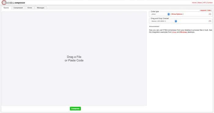 HTML Compressor outils de compression de code